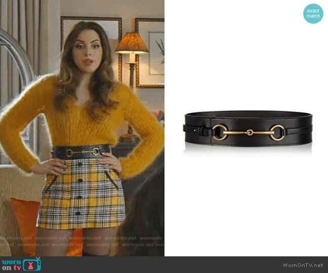 Wide Leather wWaist Belt by Gucci worn by Fallon Carrington (Elizabeth Gillies) on Dynasty