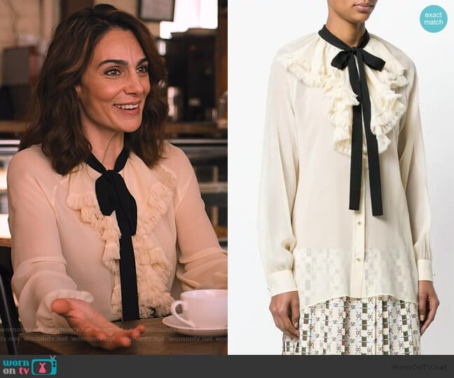 Ruffled Blouse by Gucci worn by Samantha Delmonico (Annie Parisse) on Friends from College