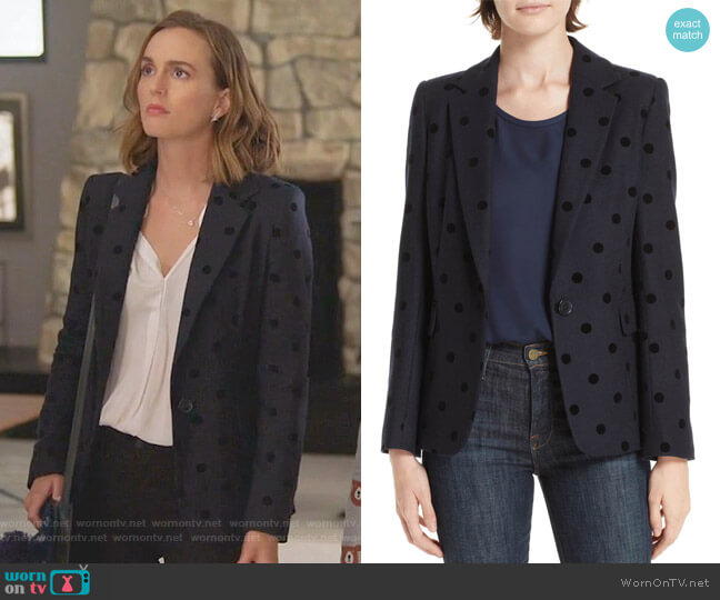 Polka Dot Blazer by Helene Berman worn by Leighton Meester on Single Parents