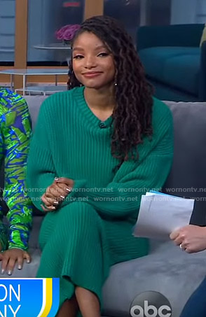 Halle Bailey's green ribbed sweater and skirt on GMA Day