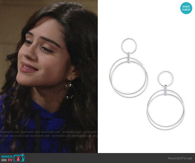 Halogen Multi Ring Hoop Earrings worn by Lola Rosales (Sasha Calle) on The Young & the Restless