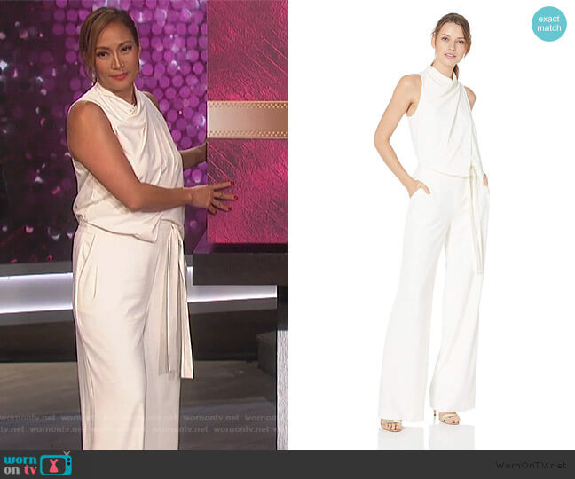 Cowl Drape Jumpsuit by Halston Heritage worn by Carrie Inaba (Carrie Inaba) on The Talk