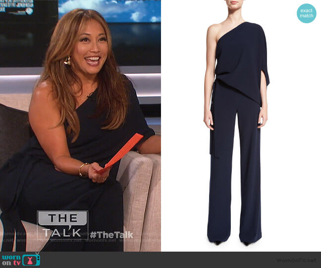 One-Shoulder Draped Stretch Crepe Jumpsuit by Halston Heritage worn by Carrie Inaba  on The Talk