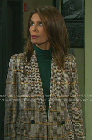 Hope's double breasted checked blazer on Days of our Lives