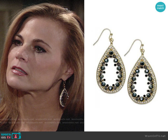 INC International Concepts Glass Stone Teardrop Earrings worn by Phyllis Newman (Gina Tognoni) on The Young & the Restless