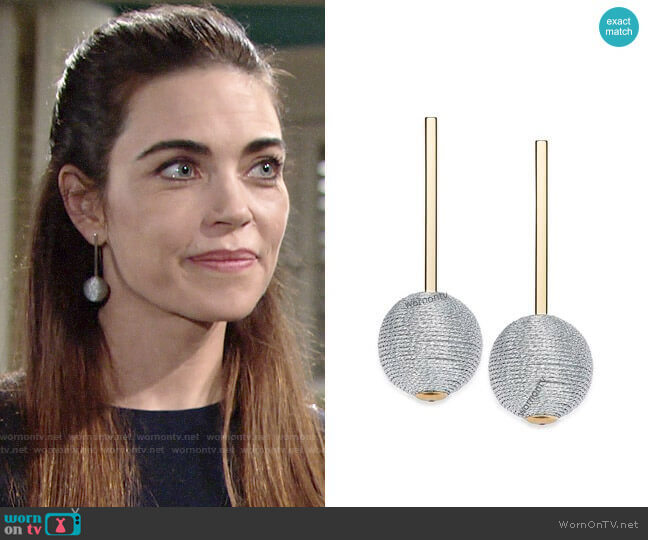 INC International Concepts Wrapped Ball Drop Earrings worn by Victoria Newman (Amelia Heinle) on The Young & the Restless