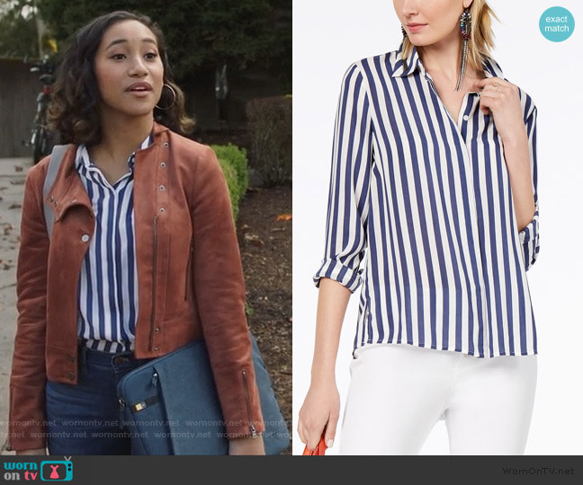 Striped Shirt by INC International Concepts worn by Caitlin Martell-Lewis (Sydney Park) on PLL The Perfectionists