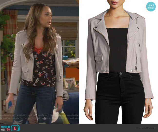 Ashville Leather Moto Jacket by IRO worn by Claire (Amber Stevens West) on Happy Together