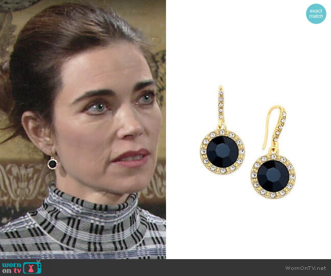 INC International Concepts Round Stone Drop Earrings worn by Victoria Newman (Amelia Heinle) on The Young & the Restless