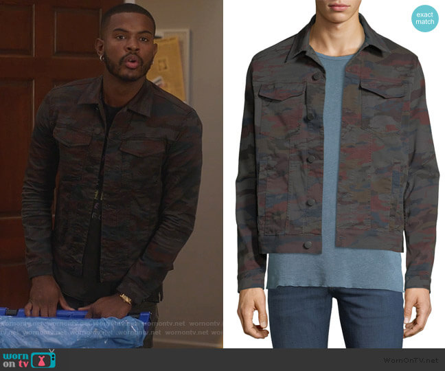 Acamar Multicolor Camo Trucker Jacket by J Brand worn by Aaron Jackson (Trevor Jackson) on Grown-ish