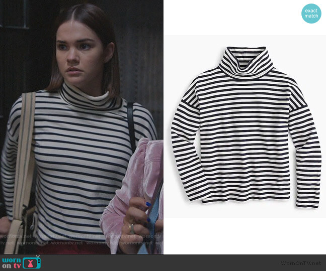 Oversized striped turtleneck by J. Crew worn by Callie Foster (Maia Mitchell) on Good Trouble