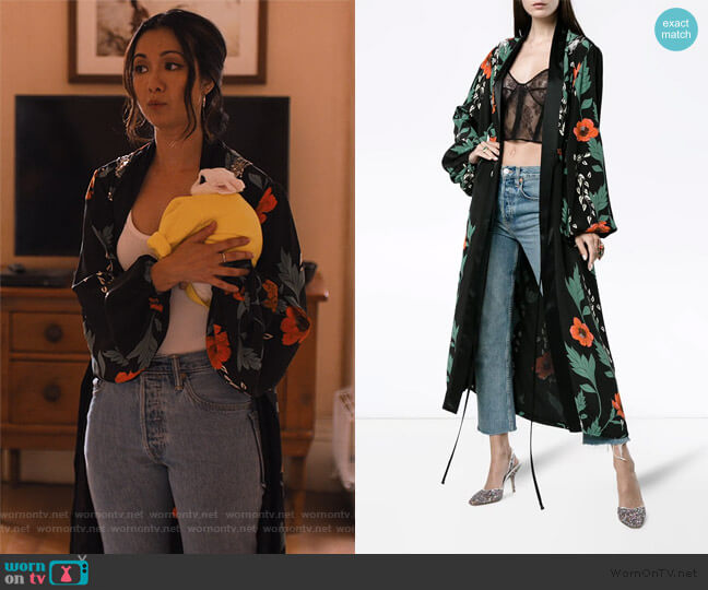 Iman Silk Floral Kimono by Johanna Ortiz worn by Marianne (Jae Suh Park) on Friends from College