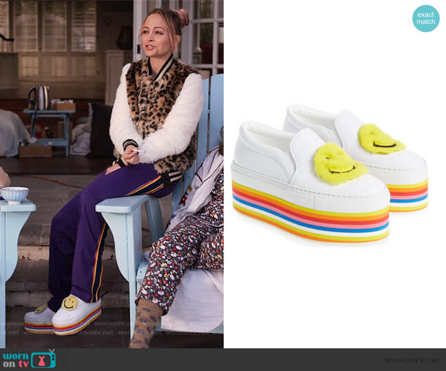 Smile Genuine Rabbit Fur Platform Slip-On Sneaker by Joshua Sanders worn by Nicole Richie on Grace and Frankie