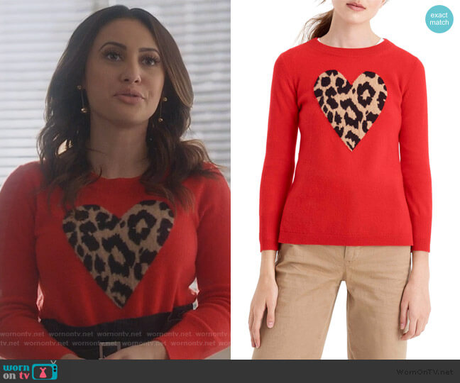 Leopard Heart Everyday Cashmere Sweater by J.Crew worn by Ana Torres (Francia Raisa) on Grown-ish