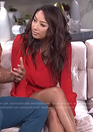 Jeannie's red surplice mini dress on The Real