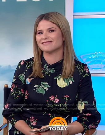Jenna's black floral and fruit print dress on Today