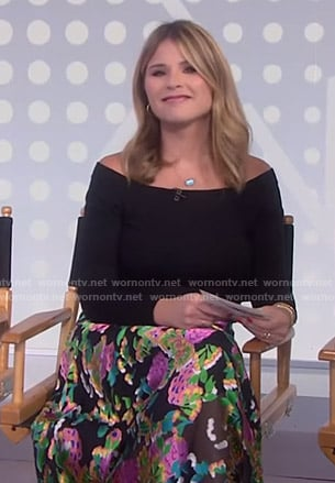 51a7d68325 WornOnTV: Jenna's black floral midi skirt on Today | Jenna Bush Hager |  Clothes and Wardrobe from TV