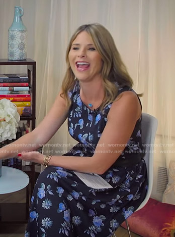 Jenna's blue floral sleeveless dress on Today