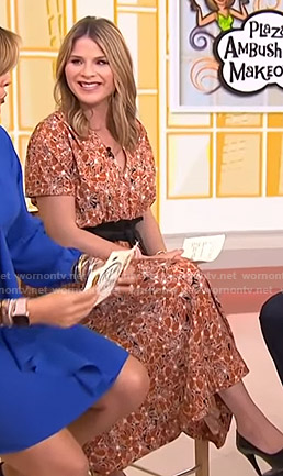 Jenna's orange floral v-neck dress on Today