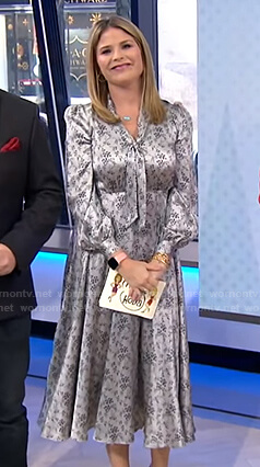Jenna's grey floral tie neck dress on Today