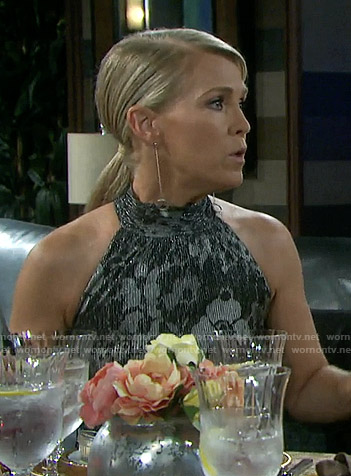 Jennifer's metallic floral halter dress on Days of our Lives