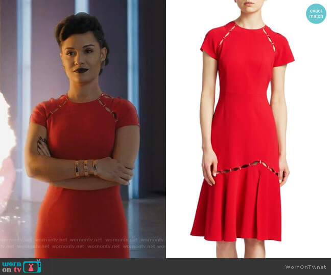 Cut-out Flounce Hem Sheath Dress by Jonathan Simkhai worn by Reeva Payge (Grace Byers) on The Gifted