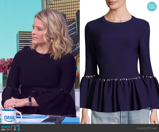 Knit Bell Sleeve Peplum Top by Jonathan Simkhai worn by Sara Haines (Sara Haines) on Good Morning America
