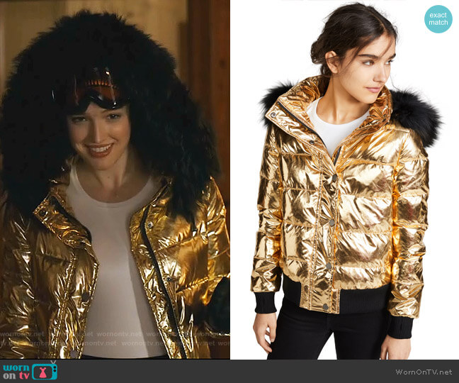 Quilted Down Jacket with Fur Trim by Jocelyn worn by Kirby Anders (Maddison Brown) on Dynasty
