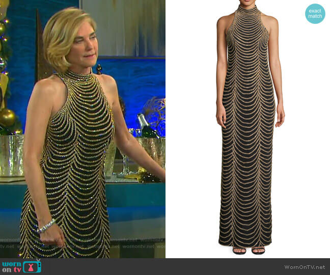 Halter-Neck Long Layered Chain Dress by Jovani worn by Kassie DePaiva on Days of our Lives