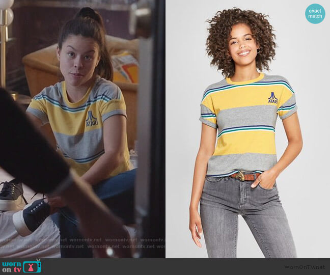Atari Striped Tee by Junk Food worn by Mariana Foster (Cierra Ramirez) on Good Trouble