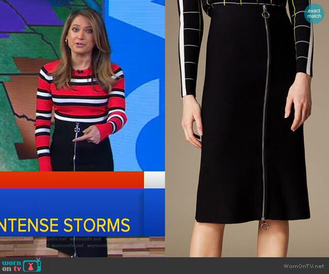 Knitted Midi Skirt by Karen Millen worn by Ginger Zee  on Good Morning America