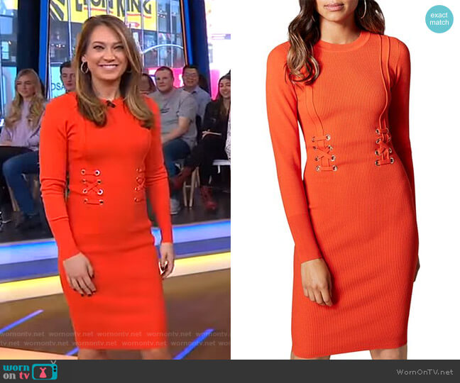 Lace-Up Rib-Knit Dress by Karen Millen worn by Ginger Zee  on Good Morning America