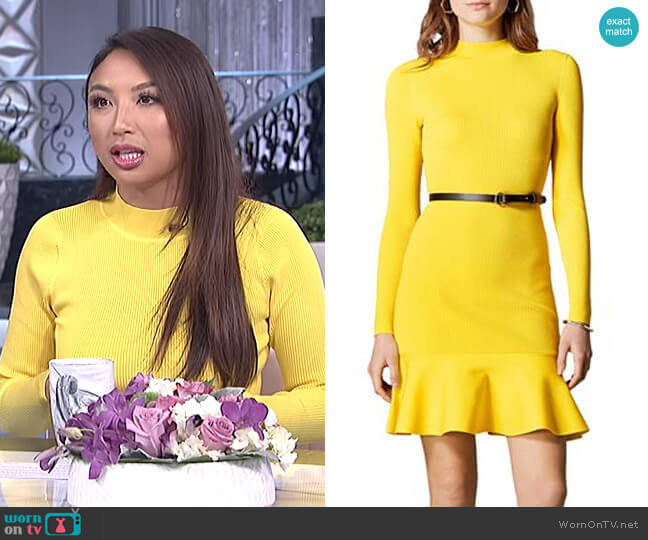 Belted Rib-Knit Dress by Karen Millen worn by Jeannie Mai  on The Real