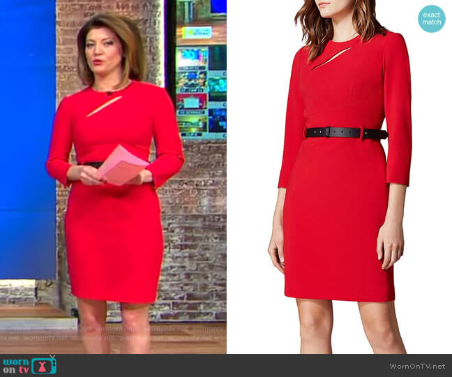 Cutout Belted Sheath Dress by Karen Millen worn by Norah O'Donnell (Norah O'Donnell) on CBS This Morning