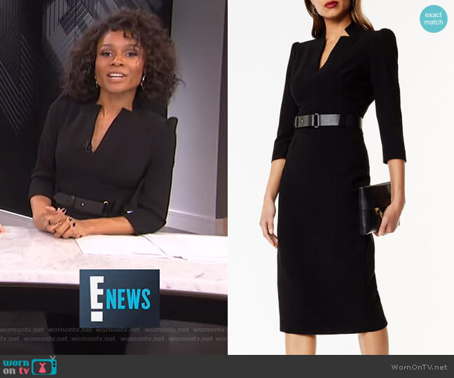 Leather Belt Pencil Dress by Karen Millen worn by Zuri Hall  on E! News