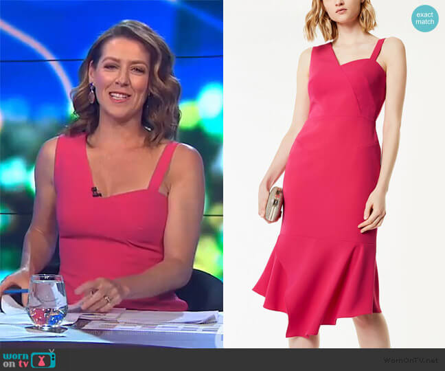 One-Shoulder Peplum Dress by Karen Millen worn by Gorgi Coghlan  on The Project