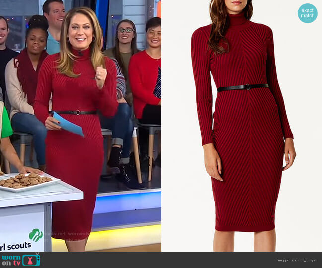 Ribbed Fitted Knit Dress by Karen Millen worn by Ginger Zee  on Good Morning America