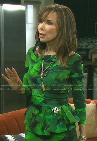 Kate's green floral peplum dress on Days of our Lives