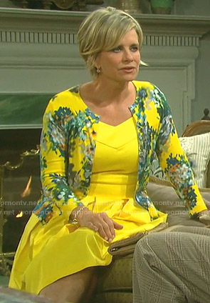 Kayla's yellow v-neck dress and floral cardigan on Days of our Lives