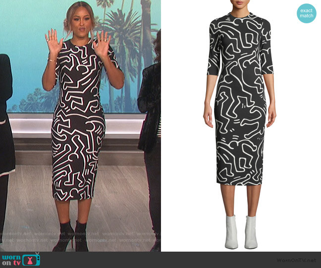 Delora Fitted Crewneck Dress by Alice + Olivia worn by Eve (Eve) on The Talk