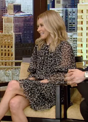 Kelly's black leopard print mini dress on Live with Kelly and Ryan