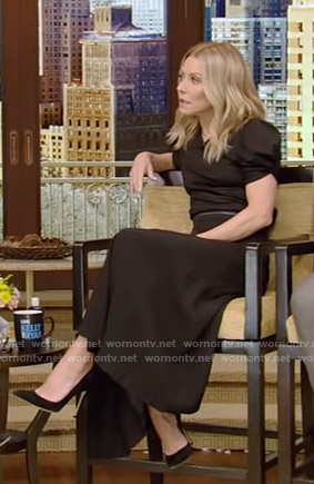 Kelly's black puff sleeve top and asymmetric skirt on Live with Kelly and Ryan