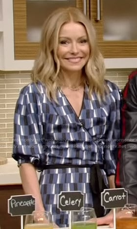 Kelly's blue geometric print wrap dress on Live with Kelly and Ryan