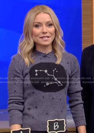 Kelly's constellation print sweater on Live with Kelly and Ryan