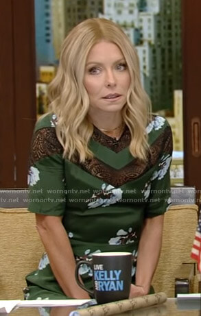 Kelly's green floral lace inset dress on Live with Kelly and Ryan