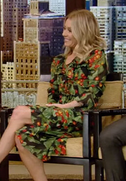Kelly's printed wrap dress on Live with Kelly and Ryan