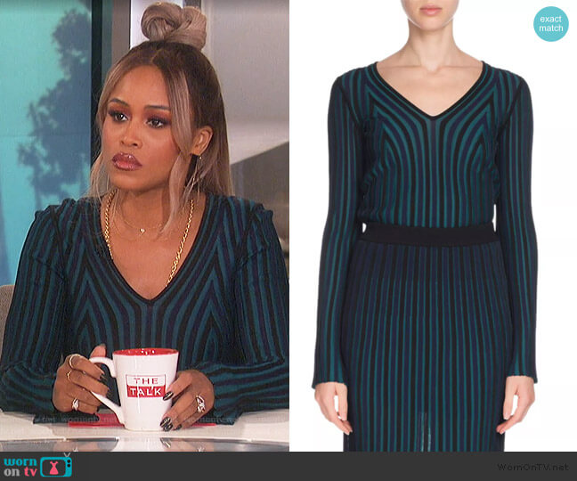 Fitted Long-Sleeve V-Neck Sweater by Kenzo worn by Eve  on The Talk