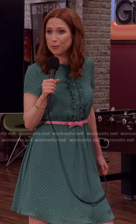 Kimmy's green polka dot dress on Unbreakable Kimmy Schmidt