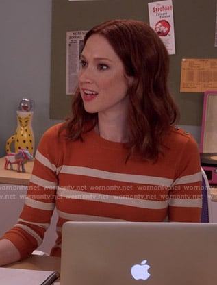 Kimmy's orange and white striped sweater on Unbreakable Kimmy Schmidt