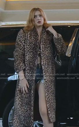 Kirby's leopard open long coat on Dynasty